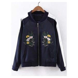 Jackets & Coats - FLORAL EMBROIDERED BOMBER JACKET